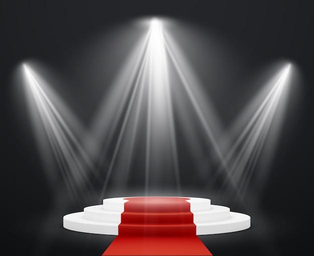 Escadas 3d com tapete vermelho. pódio de escadaria de cena em destaque para escada de prêmio de pedestal de celebridade até o sucesso