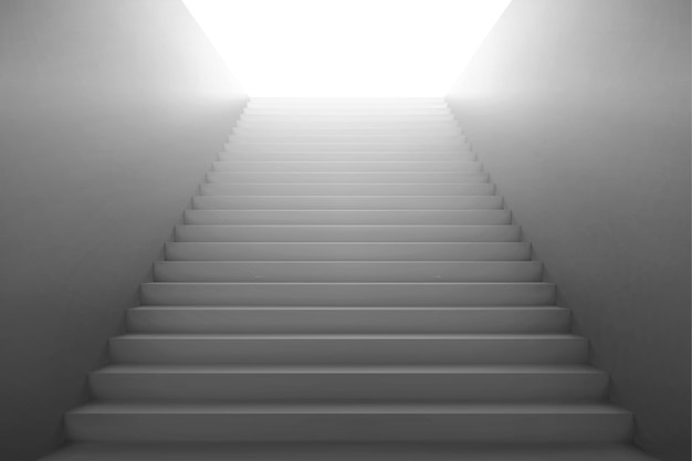 Escadas 3d indo para a luz, escada branca com paredes laterais em branco.