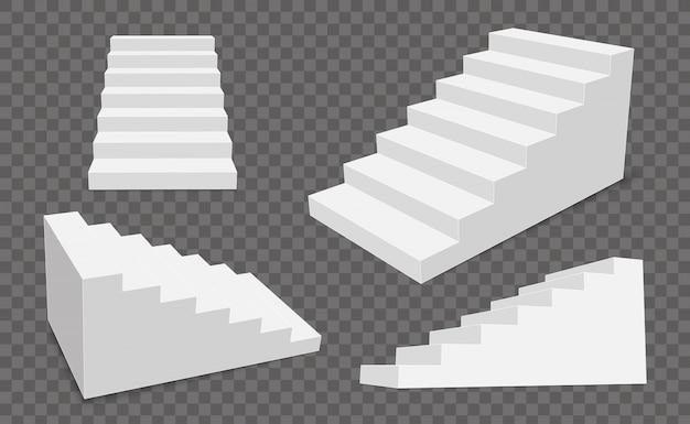 Escadas 3d interiores, etapas do palco branco.