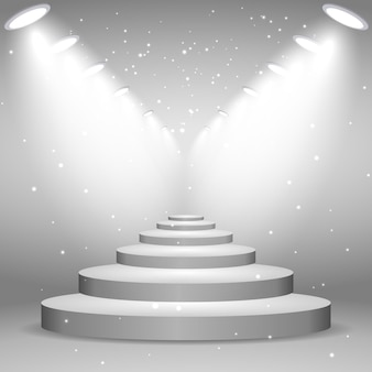 Escadas brancas iluminadas por holofotes, ilustração realista