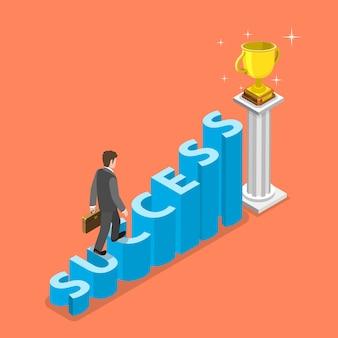 Escadas para o conceito de vetor isométrica de sucesso.