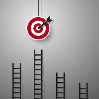 Escadas para o gol para o conceito de negócio