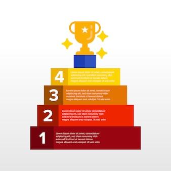 Escadas passo a passo para ser bem sucedido modelo de infográfico