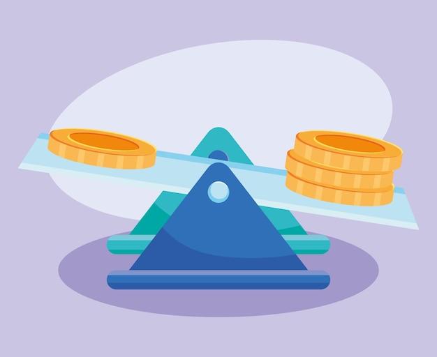 Escala com design de moedas de dinheiro