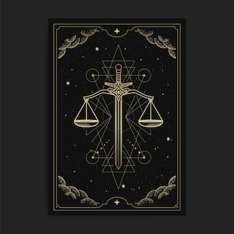 Escala da justiça, formato de espada em cartas de tarô, decorada com nuvens douradas, circulação lunar, espaço sideral e muitas estrelas