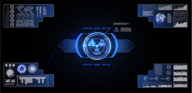 Escala de caixa de texto de elemento de interface de usuário futurista e barra para cibernética e tecnologia