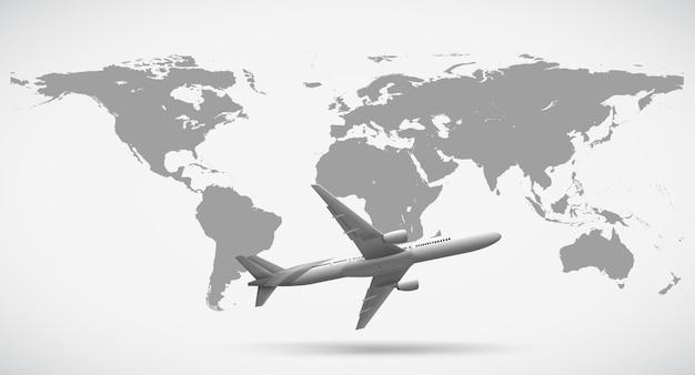 Escala de cinza do mapa mundial e avião
