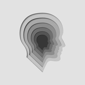 Escala de cinza papel cortado silhueta rosto