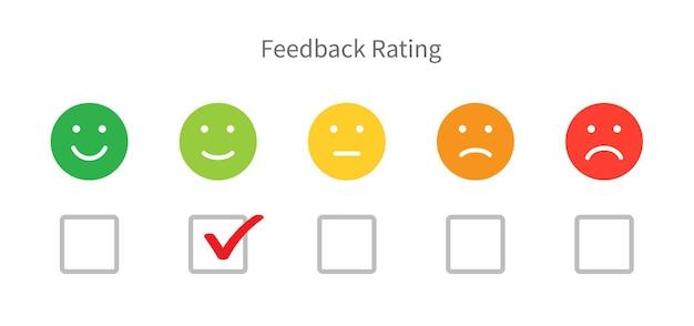 Escala de emoções de feedback, classificação de satisfação do cliente, marca de verificação