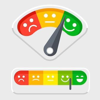 Escala de emoções para clientes ilustração em vetor feedback