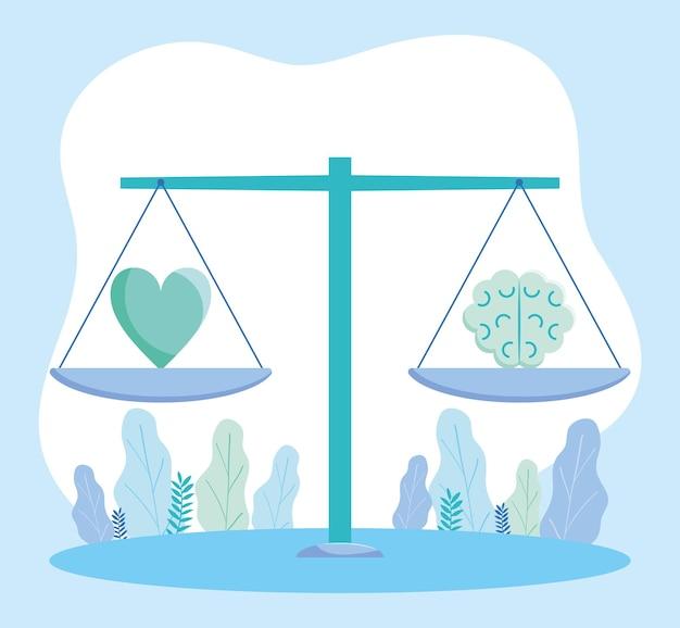 Escala de equilíbrio com coração e cérebro