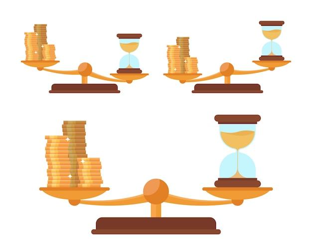 Escala de equilíbrio com moedas de ouro e ampulheta