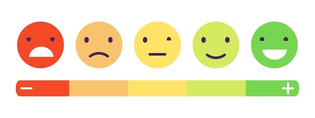 Escala de feedback de emoção. conceito de feedback de clientes.
