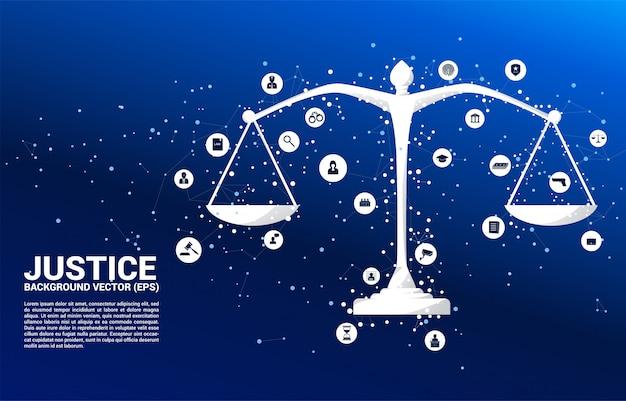 Escala de justiça com ponto e linha de conexão e ícone.