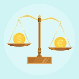 Escala de mercado do euro do dólar. equilíbrio que compara o euro com o dólar