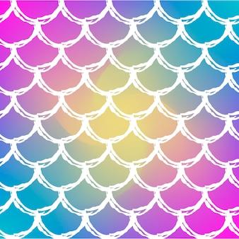 Escala de peixe em fundo gradiente na moda. pano de fundo quadrado com ornamento de escama de peixe. transições de cores brilhantes. banner de cauda de sereia e convite. padrão subaquático e mar. cores do arco-íris.