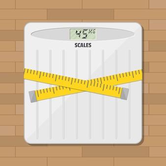 Escala de peso do chão do banheiro e fita métrica