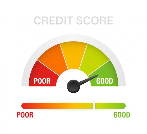 Escala de pontuação de crédito mostrando bom valor. ilustração.