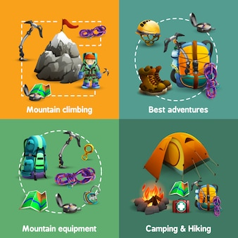Escalada 4 banner quadrado de ícones 3d