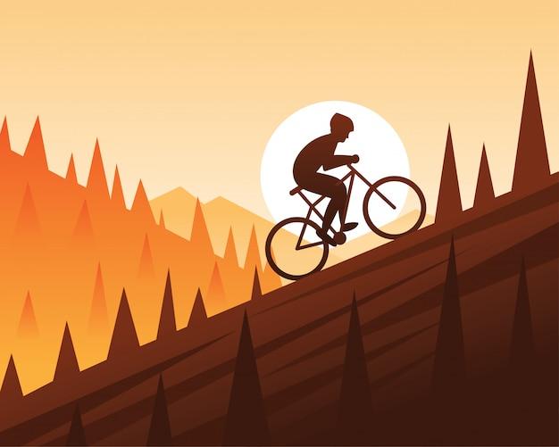 Escalada de bicicleta de montanha