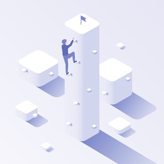 Escalada de carreira de empresário. escalada de negócios, sobe para ilustração de conceito isométrica de motivação de alvo e crescimento