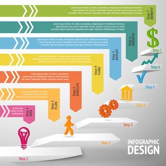 Escalada de direção ascendente, passos de negócios bem-sucedidos, ilustração infográfica vetorial
