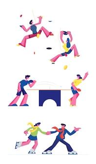 Escalada de pingue-pongue e patinação no gelo conjunto isolado no fundo branco. ilustração plana dos desenhos animados Vetor Premium