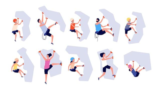Escalada esportiva. crianças adultos escalam a parede.