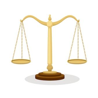 Escalas de equilíbrio. balanças judiciais de equilíbrio permanente isoladas no branco, desenhos animados de conceito de tribunal