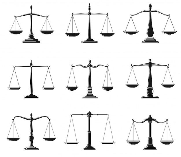 Escalas de justiça e lei equilibram símbolos