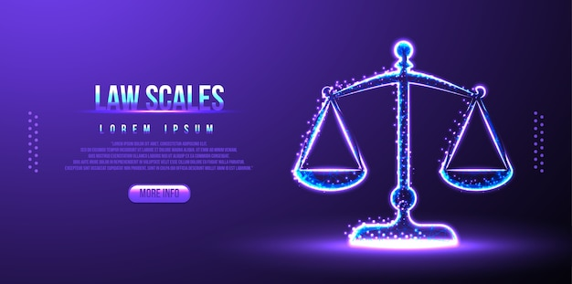 Escalas de lei, equilíbrio de juiz, wireframe de poli baixa