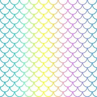 Escalas de sereia em fundo branco. squama de peixe. cores do arco-íris. impressão em escala.
