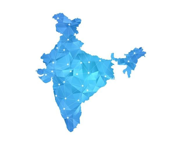 Escalas poligonais abstratas em fundo escuro com mapa do vetor da índia.
