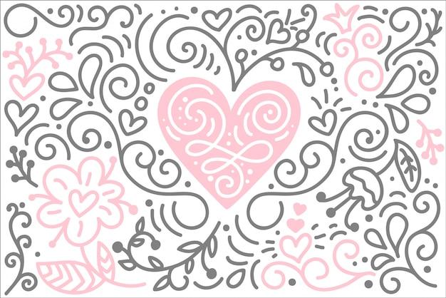 Escandinavo coração folk com flores e florescer saudação cartão de dia dos namorados