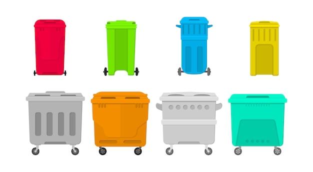Escaninhos do recipiente de lixo do metal e do plástico isolados no fundo branco. ilustração plana de latas de lixo indoor na rua. coleção de lixo e balde para lixo.