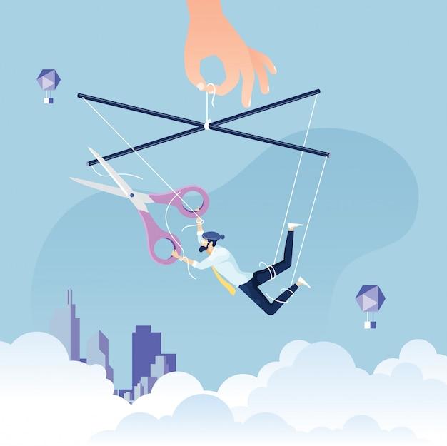 Escapando de um controle - empresário como um fantoche em uma corda