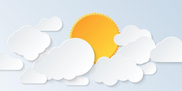 Escapo em nuvem. céu azul com nuvens e sol no estilo de arte de papel.