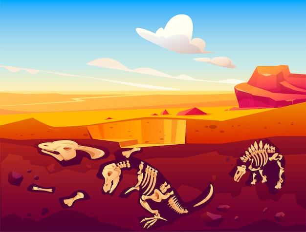 Escavação de dinossauros fósseis no deserto de areia