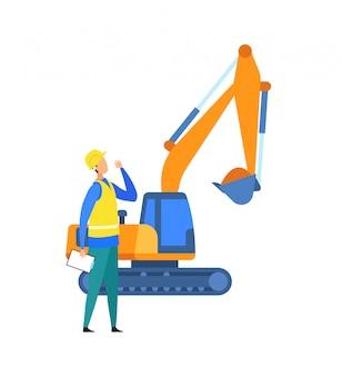 Escavação, ilustração em vetor canteiro de obras