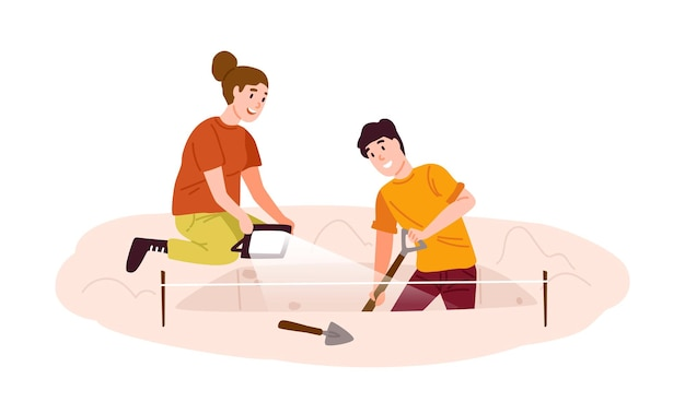 Escavações arqueológicas, ilustração plana de caça ao tesouro
