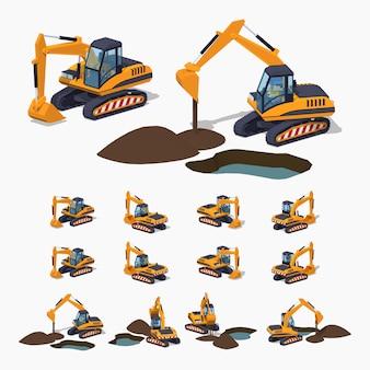 Escavadeira 3d isométrica lowpoly amarela. maquinaria especial