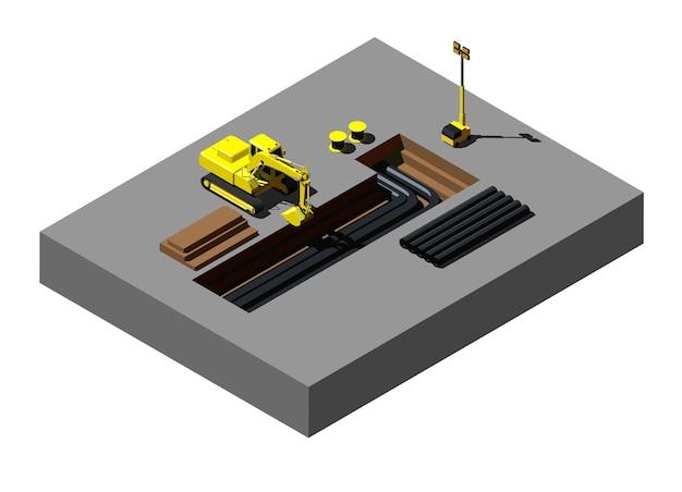 Escavadeira amarela no canteiro de obras
