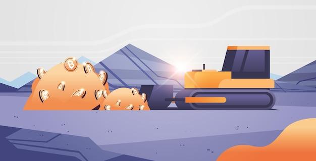 Escavadeira carregando bitcoins mineração transporte moeda dourada produção de dinheiro digital criptomoeda conceito de blockchain a céu aberto pedreira de pedra ilustração vetorial horizontal