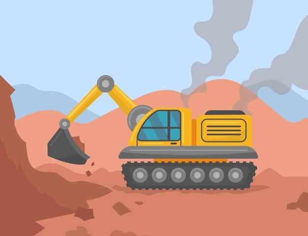 Escavadeira cavando terreno em ilustração de canteiro de obras