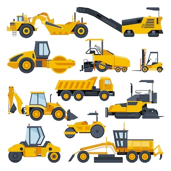 Escavadeira de construção de estrada escavadeira ou escavadeira escavando com pá e conjunto de ilustração de máquinas de escavação de veículos construtivos e máquina de escavação isolado no fundo branco