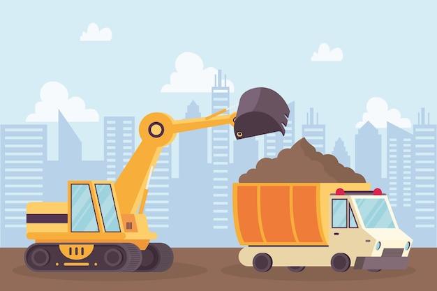 Escavadeira de construção e veículos de despejo em design de ilustração vetorial de cena de local de trabalho