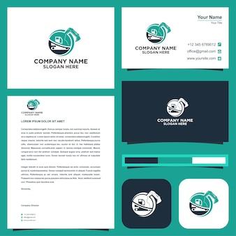 Escavadeira de logotipo ou transporte em vetor premium de cartão de visita