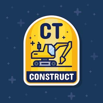 Escavadeira e banner de distintivo de serviço de construção