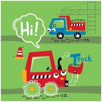Escavadeira e caminhão na zona de trabalho desenho animado