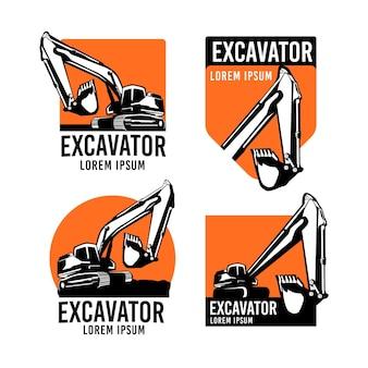 Escavadeira e coleção de logotipo de construção